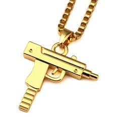 Dây Chuyền vàng Pistol Mặt Dây Chuyền Unisex Mạ Vàng Tiểu Liên Gun Pendant Maxi Chuỗi Vòng Cổ Cho Nam Giới/Phụ Nữ Hip Hop Đồ Trang Sức quà tặng NYUK