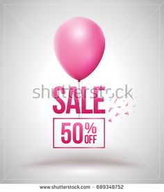 Sale and balloon isolated vector illustration. Discount offer price label, symbol for advertising campaign in retail, sale promo marketing, 50% off discount sticker, ad offer on shopping day