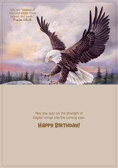 Anniston, Alabama artist Larry Martin painted four exquisite eagles for this set of birthday cards, Eagle's Wings. Each card is 6 x 4 with a total of 12 cards and envelopes. Birthday Blessings Christian, Christian Birthday Greetings, Christian Birthday Quotes, Happy Birthday Quotes, Happy Birthday Wishes, Christian Quotes, Birthday Greeting Message, Birthday Wishes Messages, Champagne Birthday
