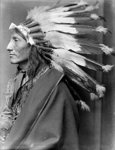 Whirling Horse, Sioux Indian, CHIEF, Headdress, Native American1900 Photo, 24x18