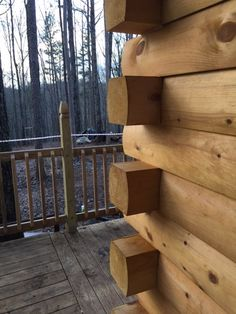 A good view of the custom log siding after installation.