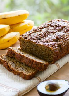 Roasted Banana Bread with Avocado & Chia - Healthy & moist banana bread made with roasted bananas, whole wheat and oat flours, avocado instead of butter and chia seeds for a protein punch.