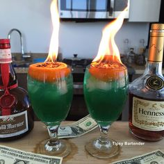 THE DONALD TRUMP COCKTAIL - green for his money and flaming orange for his hair…