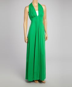 Take a look at the ecoSkin Kelly Green Catalina V-Neck Maxi Dress on #zulily today!