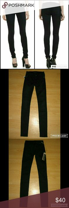 "MEK Denim Nanjing Super Skinny Leggings Jeans These jeans are brand new. These are the Nanjing Legging which is their Super Skinny jean in Black but could also be mistaken for a really dark blue. Features cute crystal/rhinestone rivets and front button. Made of 98% cotton 2% spandex. Tag size is W24 L32.  Waist across with natural dip is 12"" Waist across when aligned is 12.5"" Front Rise is 6.5"" Inseam is 31.5"" MEK Jeans Skinny"