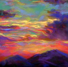 SURREAL SUNSET - 6 x 6 pastel by Susan Roden, painting by artist Susan Roden