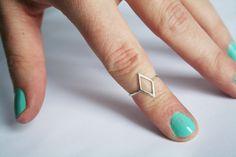 Silver Diamond Ring Diamond Shape Ring Thin door StefanieSheehan, $54.00