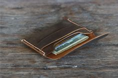 Mens Leather Card Wallet Gift Ideas for Him by JooJoobs on Etsy