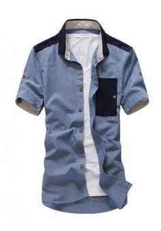 Blue Summer New Pockets Simple Lapel Short Sleeve Men Shirts M/LXL/XXL 608-C677bl : $22.98 in Maxnina.com. ($22.00) - Svpply