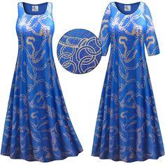 Customizable Gold Chains Slinky Print Plus Size & Supersize Short or Long Sleeve Dresses & Tanks - Sizes Lg XL 1x 2x 3x 4x 5x 6x 7x 8x 9x