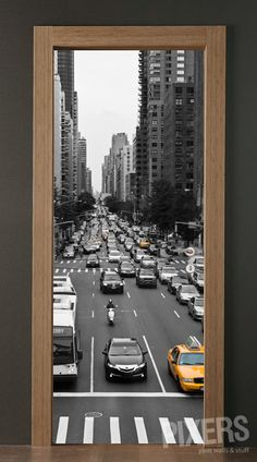 3D door sticker - streets of new york
