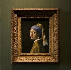 """""""Girl with a pearl earring"""", c. 1665 By Johannes Vermeer (Dutch, 1632-1675) oil on canvas; 44.5 x 39 c; 18 1/4 x 15 1/4 in."""