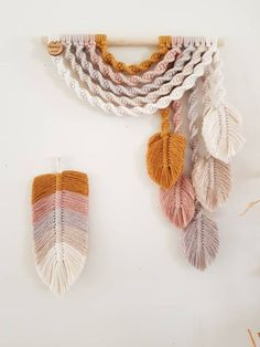E a r t h ~ Upside down Rainbow Feather Wall Hanging - hand made - . - E a r t h ~ Upside down Rainbow Feather Wall Hanging – hand made – – In the - Macrame Wall Hanging Diy, Macrame Art, Macrame Projects, Macrame Knots, Macrame Mirror, Macrame Curtain, Earthy Color Palette, Etsy, Weaving