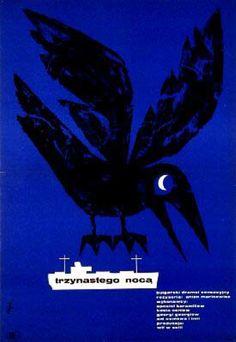 """Polish Movie Poster by Jerzy Flisak (1930-2008), 1962, """"Trzynastego Noca"""" directed by A. Marinowicz."""