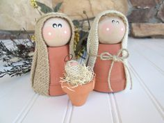READY TO SHIP holiday decor, whimsical nativity set rustic clay pot christmas nativity scene, Christmas decor, hostess, teacher gift – 2019 - Holiday ideas Christmas Nativity Set, Christmas Art, Christmas Holidays, Christmas Decorations, Christmas Ornaments, Nativity Sets, Flower Pot Crafts, Clay Pot Crafts, Holiday Crafts