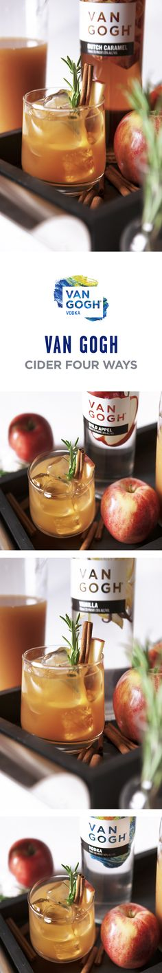 Spice up your cider with one of our four fall flavors. Simply pour two parts cider, and one part either Van Gogh Dutch Caramel, Van Gogh Wild Appel, Van Gogh Vanilla or Van Gogh Vodka. Garnish with cinnamon, rosemary and an apple slice. Follow for more simple fall cocktails, and learn more about our naturally-infused flavors at Vangoghvodka.com.