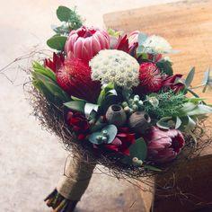 proteas and native flowers grown fresh in beautiful south-eastern tasmania Bride Flowers, Flowers For You, Bride Bouquets, Floral Bouquets, Protea Wedding, Flower Bouquet Wedding, Floral Wedding, Wedding Arrangements, Flower Arrangements