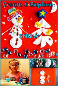 Snow: Create and Explore. Snowman and winter scene with cotton pads and a sensory bin. The story of snow: explore the properties of snow hands-on. Math review with the cotton pads preschool activities.