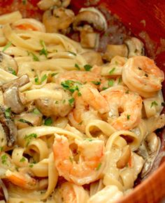 Creamy Shrimp and Mushroom Pasta Source: chaosinthekitchen
