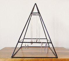 Tall Welded Jewelry Display Pyramid in Gloss Black