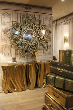 Apollo Mirror,Monochrome Gold Console Boheme Luxury Safe from Boca Do Lobo Maison & Objet, Fairs, Events, Shows, Design Agenda, Design Events. For more news: http://www.bocadolobo.com/en/news-and-events/