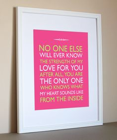 """Pink Nursery Wall Art 11X14 Baby Girl Wall Art Prints Nursery decoration love. """"No one else will ever know"""". Personalized Art, Baby gift. $19.00, via Etsy."""