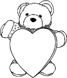teddy bear holding heart coloring pages | http://prinzewilson.com ...