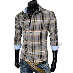 (CS39-GRAY) MENS CASUAL FITTED CHECKER SHIRTS