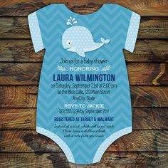 Whale Baby Shower Invitations  20 Onesie die by LittleBeesGraphics, $31.00