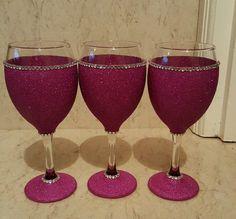 6 hot pink glittered wine glasses