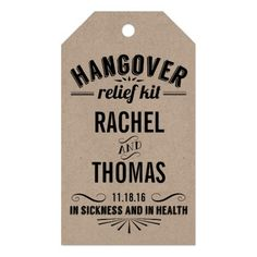 Hangover Relief Kit   Wedding Recovery Favor Gift Tags