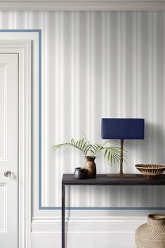 Polo Stripe Wallpaper in Neutral, by Cole & Son. A combination of stripes in varying widths and textures. F&P Interiors, inspiring your design. Painting Stripes On Walls, Paint Stripes, Stripes Design, Striped Wallpaper Neutral, Striped Walls, Stripe Wallpaper, Fabric Wallpaper, Wall Wallpaper, Hallway Designs