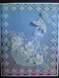 pergamano by Velichka Petkova Mais Mais Vellum Crafts, Vellum Paper, Paper Cards, Umbrella Cards, Parchment Design, Parchment Cards, Bridal Shower Cards, Card Patterns, Pretty Cards
