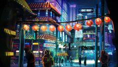 """fuckyeahcyber-punk: """"Night City Lights by skalien87 """" Follow for more corporate approved content. Remember, corporate """"loves"""" you."""