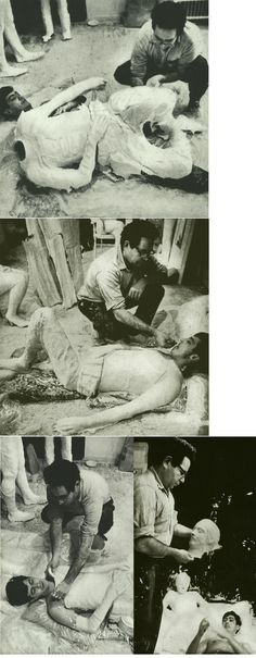 IMAGES OF GEORGE SEGAL CASTING THE FIGURE OF RICHARD BELLAMY FOR COUPLE ON BED, 1967 Sculpture Techniques, Sculpture Ideas, Contemporary Artists, Modern Art, George Segal, Plaster Sculpture, Pop Art Movement, Art Students, Art Club