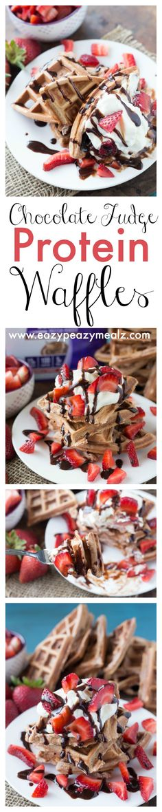 Chocolate fudge protein waffles topped with strawberries, whipped cream, and chocolate sauce for a protein packed, good-for-you, and delicious breakfast or dessert! #ad #domorewithprotein - Eazy Peazy Mealz