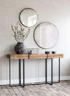 a duo of round mirrors in simple frames for a boho chic entryway Modern Entryway, Entryway Decor, Modern Decor, Entryway Ideas, Modern Stairs, Rustic Modern, Modern Farmhouse, Home Entrance Decor, Modern Entrance