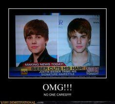 "Headline News in America - ""Justin Bieber Cuts His Hair"" OMG - No one cares!!!"