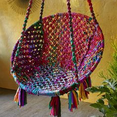 Chindi Hanging Chair ~ Hand-Crafted by artisans in India via www.worldmarket.com #CRAFTBYWORLDMARKET