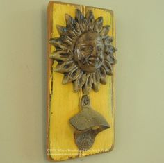 Wall-mounted smiling sun bottle opener wall hanging - $31.00