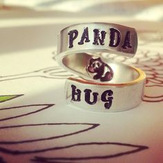 Hey, I found this really awesome Etsy listing at https://www.etsy.com/listing/197085816/panda-hug-ring-hand-stamped-aluminum