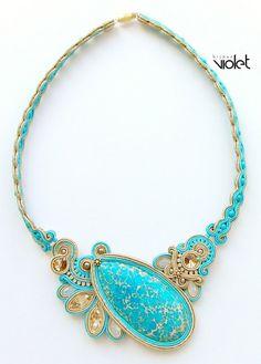 Soutache Necklace Fatima by Violetbijoux on Etsy