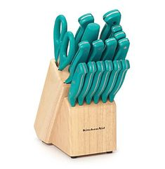 Beautiful If I Ever Change My Kitchen From Orange To Turquoise, I Like These. Love  The Teal Knife Set From KitchenAid®! Add Some Pizzazz To Your Preparation.