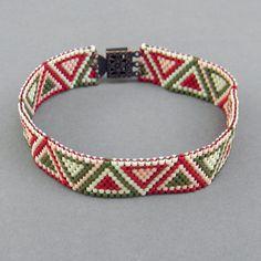 Thin peyote  bracelet  ethnic style beaded jewelry by Anabel27shop,