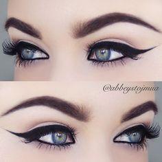 """If in doubt, wing it!! ✨✨ *brows #anastasiabeverlyhills dipbrow in dark brown *eyeliner #sigmabeauty gel eyeliner in wicked *lashes #eylure 117's …"""