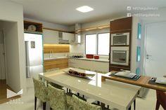 2|2 CASA LR - Projeto de Arquitetura de Interiores para Cozinha / Sala de Jantar em Morro da Fumaça - SC
