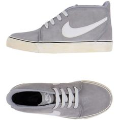 NIKE High-tops ($59) ❤ liked on Polyvore featuring shoes, sneakers, nike, chaussure, grey, nike sneakers, gray shoes, high top shoes, nike shoes and leather high tops