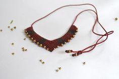 Macramé Necklace and Brass Handmade. by Nalgarabia on Etsy