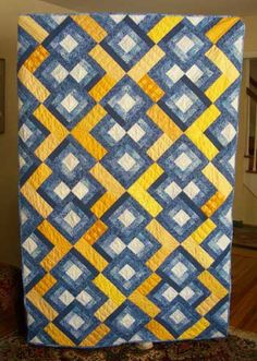 yellow and blue version of Raspberry Dessert #quilt by Julie Herman - many more versions too!