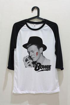 David Bowie Shirt Rock Unisex T-Shirt Shirts Baseball Raglan Jersey Tee TShirt Long Sleeve Women Men Size S M L